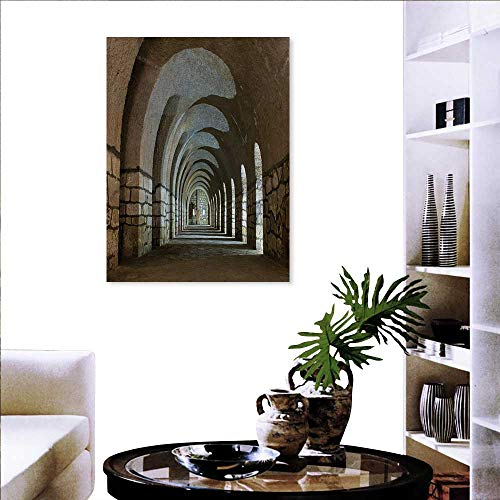 Warm Family Antique Wall Stickers Corridor in an Old Fortress Touristic Historical Landmark Medieval Hallway Arch Picture Landscape Wall Stickers 20