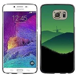 Be Good Phone Accessory // Dura Cáscara cubierta Protectora Caso Carcasa Funda de Protección para Samsung Galaxy S6 SM-G920 // Wind Mill Hills Landscape Green Mist View Art