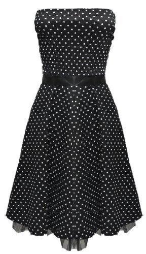 De Lunares 50s Cuello Halter Vintage Pin-up Vestido Negro - algodón, negro,