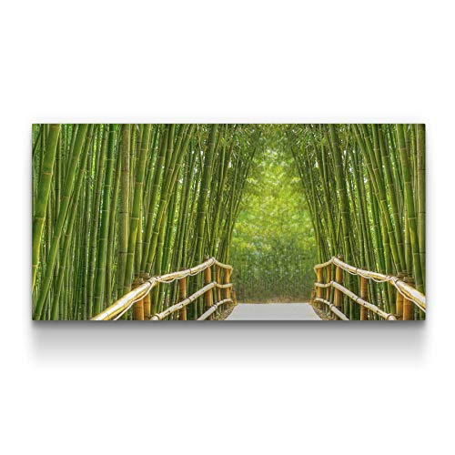 Canvas Wall Art Bamboo Alley, Green Framed Wall Decor 24