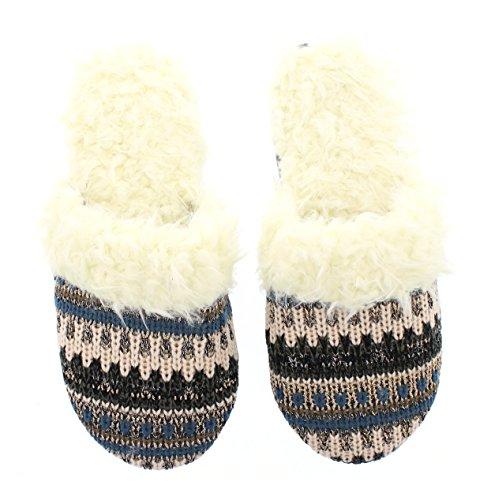 Gold Toe Mujeres Kaylie Fair Isle Knit Clog Memory Foam Slip En Piel Borrosa Rayada Azul