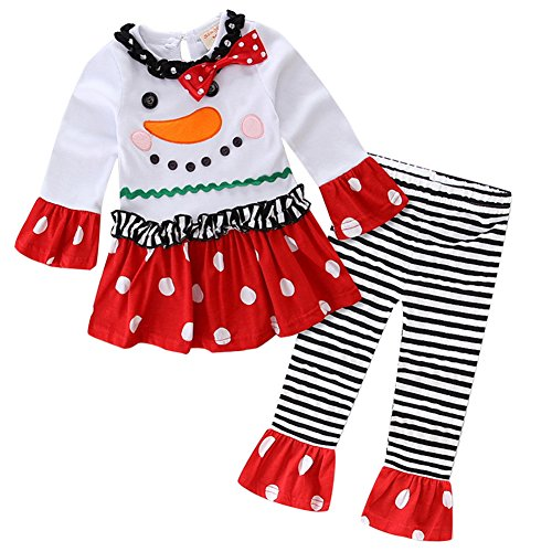 - Baby Girls Toddler 2 Pieces Christmas Set Long Sleeve Snowman Santa Top T-Shirt Dress Ruffle Leggings Pants Outfit Costume White + Red Outfits 12 Months