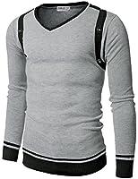 Doublju Mens V-Neck Sweater with Contrast Detail