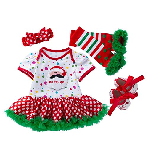Mayunn 4-Pieces Newborn Baby Girls Cotton Santa Printing Romper Skirt Christmas Costume Outfits Clothes Set ()