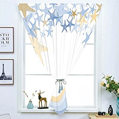 VANKINE Free Punching Magic Stickers Window Curtain,Starfish Decor,Wavy Stripes Ocean Inspired Design Starfishes Sky Aquatic Sea Life Theme Decorative,Multicolor,Paste Style,for Living Room