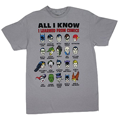 All I Know I Learned From Comics Adult Silver T-Shirt