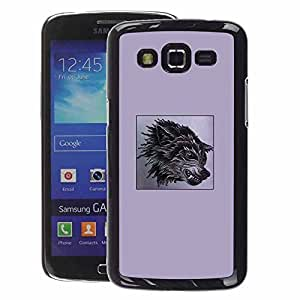 A-type Arte & diseño plástico duro Fundas Cover Cubre Hard Case Cover para Samsung Galaxy Grand 2 (Purple Fang Wolf Black Poster Dog Anger)