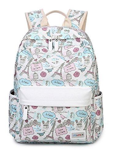 HAPPYTIMEBELT Double Zipper Eiffel Tower Printing School Backpack Student Book Bag(Blue) [並行輸入品]   B078WX3LVP
