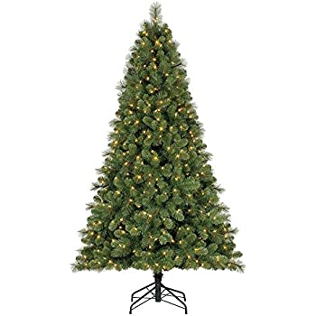 home heritage 7 ft artificial cascade pine christmas tree w changing lights - 7 Christmas Tree