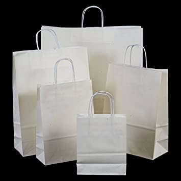 10x White Paper Gift Bags with Twisted Handles - 18cm x 22cm x 8cm ...
