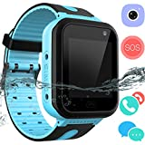 Kid Smartwatch GPS Tracker - Wrist Phone Game Watch SOS Anti-lost Alarm Remote Monitor with SIM Card Touch Screen Birthday Gifts for Children Boys Girls for iPhone Android (01 S7 Waterproof Blue)