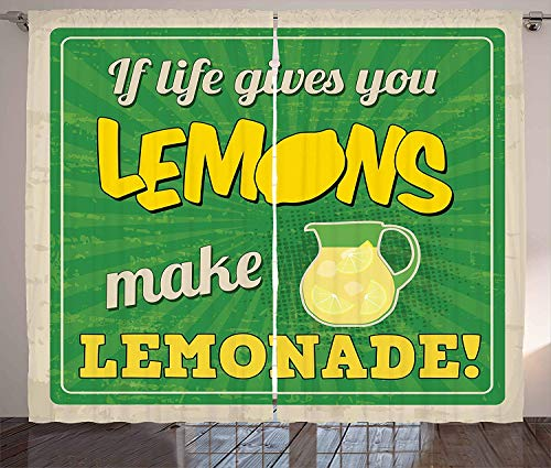BABE MAPS Quote Kitchen Room Darkening Curtains Vintage Pop Art Advertising Design If Life Gives You Lemon Make Lemonade Blackout Room Darkening Draperies 104 W X 84 L Inch Green Yellow and Tan