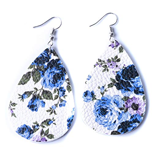 YouCY Leaf Drop Earrings Blue and White Porcelain Pendant Floral Printed Petal Heart Teardrop Earrings,5#