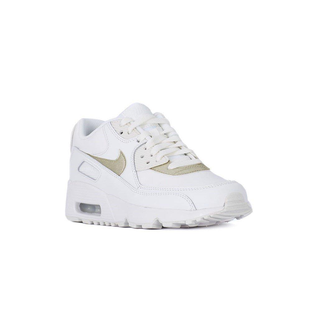 Nike Damen Air Max 90 Ltr (Gs) Traillaufschuhe, Weiß (Summit White / Mtlc Gold Star 103), 39 EU