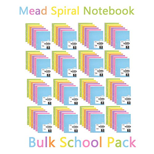 Mead Spiral Notebook, 96 Pack of 1-Subject College Ruled Spiral Bound Notebooks, Pastel Color Cute school Notebooks, 70 Pages ()