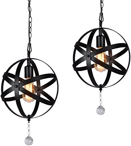 HMVPL Plug-in Industrial Globe Pendant Lights with 16.4 Ft Hanging Cord and Dimmable On Off Switch, Vintage Metal Spherical Lantern Chandelier Ceiling Light Fixture