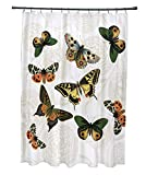 E by design 71 x 74'', Antique Butterflies and Flowers, Animal Print Shower Curtain, White