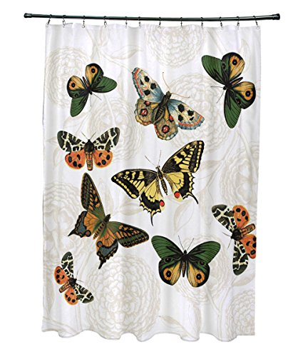 E by design 71 x 74'', Antique Butterflies and Flowers, Animal Print Shower Curtain, White by E by design