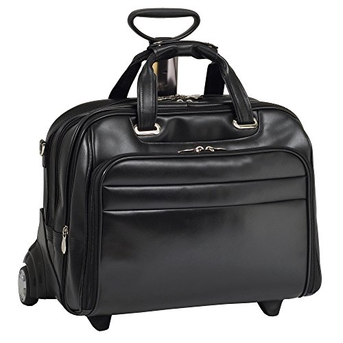 McKleinUSA MIDWAY 86605 Black Leather Fly-Through Checkpoint-Friendly 17  Detachable Wheeled Laptop Case