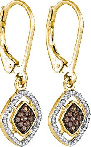 10kt Yellow Gold Brandy Diamond Chocolate Brown Pretty Diamond Shaped Dangle Earrings 1/3 Ctw.