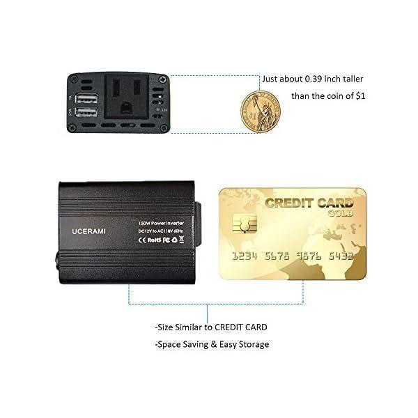 UCERAMI Power Inverter 150W DC 12V To 110V AC Outlet Car Adapter Converter With Smart USB Charger