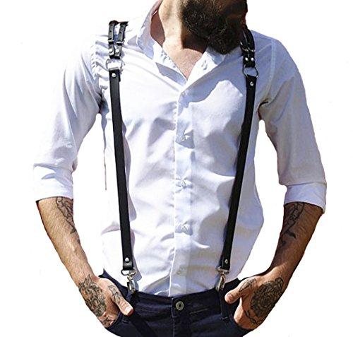 Body Chest Harness Punk Adjustable Faux Leather Belt with Buckles Rings for Men Women(LM04) ()