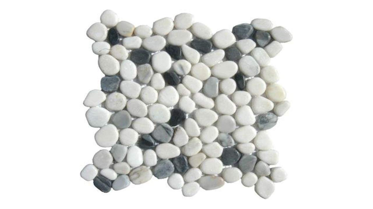 MS International 12 in. x 12 in. Black/White Pebbles Marble Mosaic ...