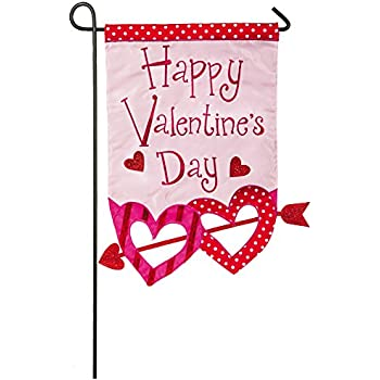 Evergreen Valentineu0027s Day Glitter Arrow Applique Garden Flag, 12.5 X 18  Inches