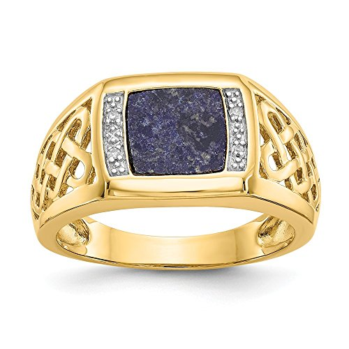 Mia Diamonds 14k Solid Yellow Gold (0.02cttw) and Rhodium Lapis Diamond Ring