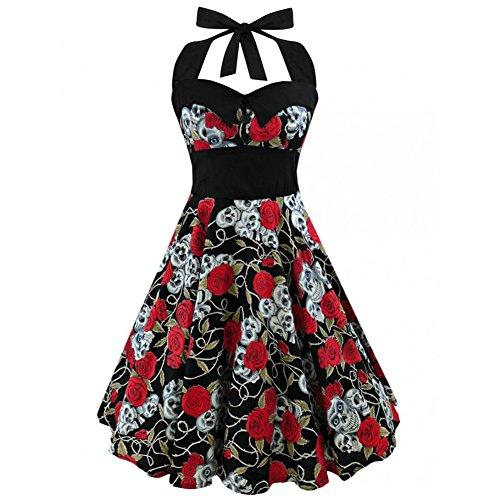 iShine Neckholder Kleid Damen 50s Rockabilly Kleid Faltenrock ...