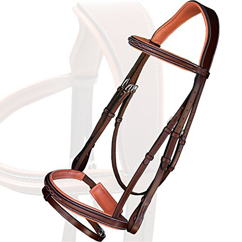 Exion Wave Head Piece Attached Strap Fancy Square Raised Leather Bridle with PP Rubber Grip Reins and Stainless Steel Buckles | Equestrian Show Jumping Padded Bridle Set | Oak Brown | Full