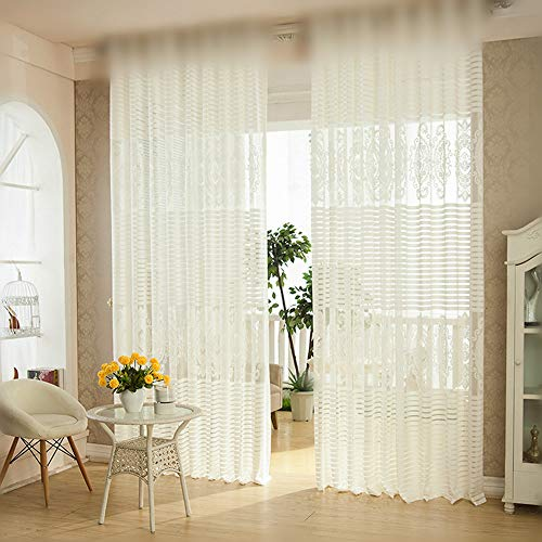 WINYY Jacquard Window Curtain Panel Bedroom Balcony Sitting Room Netting Fabric Translucent Ventilate Sheer Curtain Yarn Sliding Glass Door Kitchen Voile Rod Pocket Top 1 Panel W40XL63 inch