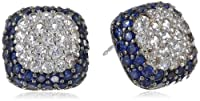 Sterling Silver Created Blue and White Sapphire Square Stud Earrings from PAJ, Inc