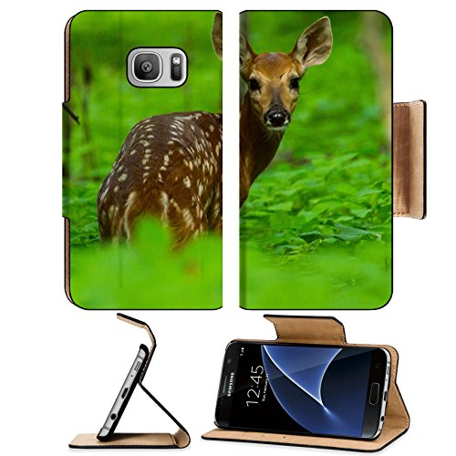 MSD Samsung Galaxy S7 Flip Pu Wallet Case IMAGE ID: 34855556 Young whitetail fawn (Fawn Whitetail)