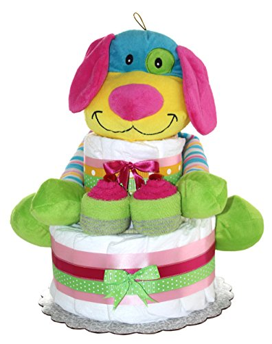 Rainbow Puppy Unique Diaper Cake For Girl Or For Boy/ 2 Tier Diaper cake/ Newborn Gift for Baby shower (Baby Girl-Pink)