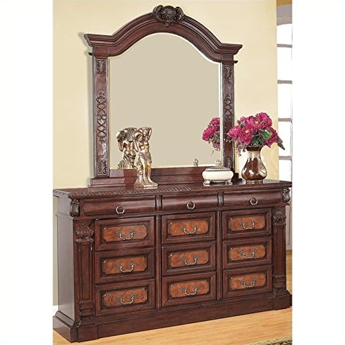 - Coaster Grand Prado Dresser and Mirror Set in Warm Cherry Finish