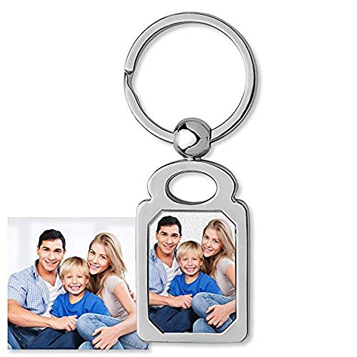 PicturesOnGold.com Photo Keychain - Stainless Steel Engravable Rectangle Laser Photo -