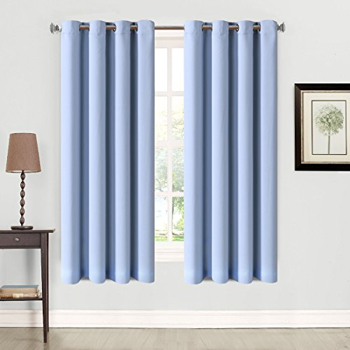 Balichun 2 Panles Blackout Curtains Thermal Insulated Grommets Drapes for Bedroom/ Living Room 52 by 63 Inch Blue