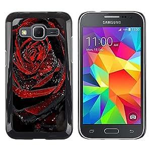 Be Good Phone Accessory // Dura Cáscara cubierta Protectora Caso Carcasa Funda de Protección para Samsung Galaxy Core Prime SM-G360 // Black Rose Dew Drop Spring Love