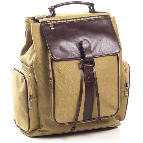 Canvas and Leather Backpack Color: Khaki by Clava Leather