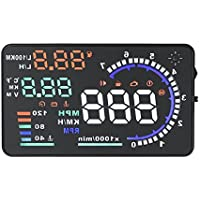 AICase 5.5 inches A8 Multi-color LCD Screen Speed Car Vehicle Head Up Display HUD with OBD 2 II Interface Plug Play KM/h MPH Speeding Warning Fuel Consumption