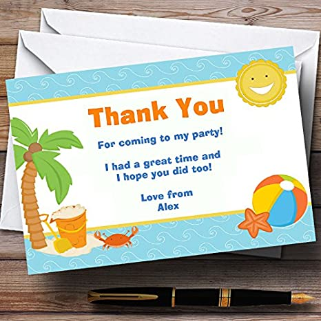 Beach Holiday Swimming Pool Personalized Birthday Party Thank You Cards