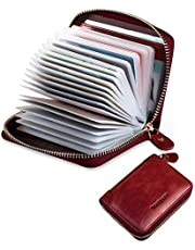 Ladies Soft Genuine Leather Credit Card Holders BTNEEURFID Blocking Credit Card Wallets for Women, Men Leather Card Holder with 22 Clear Card Slots, Small Zipped Around Card Case for Gents