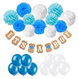 Baby Shower Decorations, Cocodeko IT is A BOY Paper Garland Bunting Banner with 12 Paper Pom Poms and 20 Pieces Latex Balloons for Christening Baby Shower Garland Decoration Birthday Party Favors