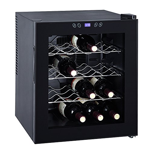 Smad 16 Bottles Thermoelectric Wine Cooler Counter Top Small Wine Cellar, Glass Door by Smad
