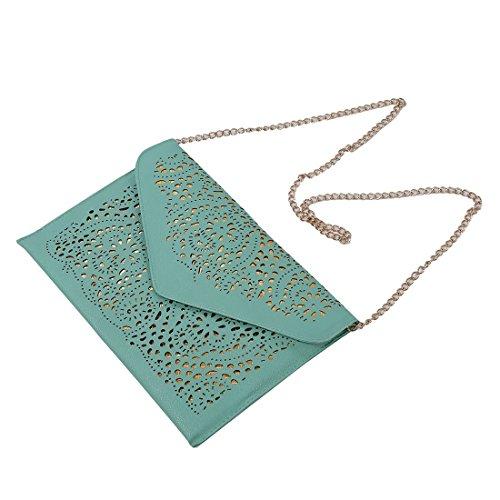 TOOGOO(R) Vintage Nacional Bolso de la tendencia de mujer Bolsa del sobre del recorte Bolsa crossbody de hombro Bolsa de mujer de embrague Azul verde claro