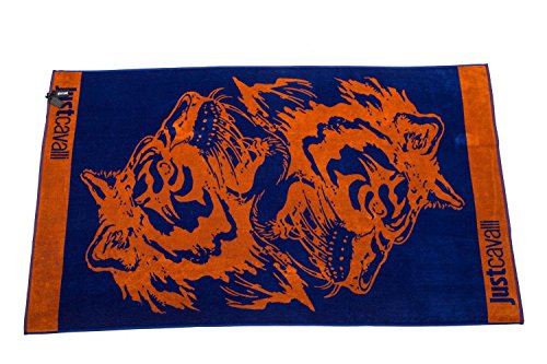 Just Cavalli Orange & Navy Animal Tiger Print Extra Large 100% Turkish Terry Cotton Beach Resort Pool Summer Towel 71 x 39 Highly Absorbent ()