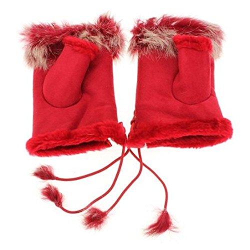 レディースガールズ女性用ウサギファー手手首ウォーマー冬指なし手袋 – レッドカラー