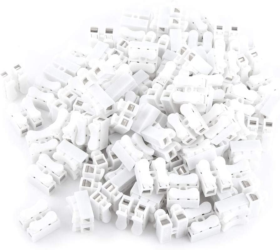 100Pcs 10A 220V 2 Pin Quick Connector Spring White Wiring Terminal Practical and Long Service Life
