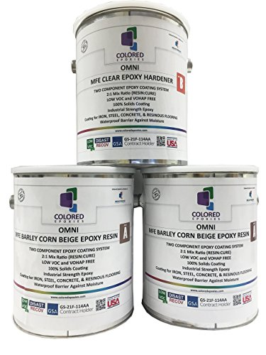 Coloredepoxies 10003 Beige Epoxy Resin Coating Made with Beautiful and Vibrant Pigments, 100% solids, For Garage Floors, Basements, Concrete and Plywood. 3 Quart (Plywood Kit)